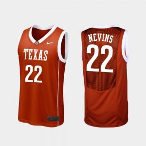 Blake Nevins College Jersey Basketball Burnt Orange UT #22 Replica For Men