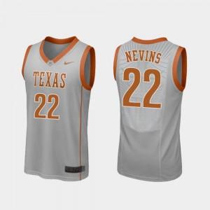 Gray Basketball Replica Texas Longhorns #22 For Men Blake Nevins College Jersey
