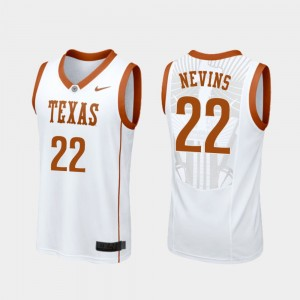 Mens Blake Nevins College Jersey Replica #22 Longhorns Basketball White