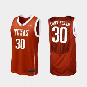 Basketball Replica UT Brock Cunningham College Jersey For Men's #30 Burnt Orange