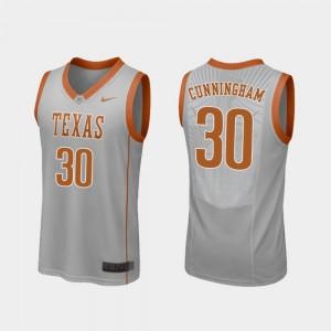 Gray Replica Brock Cunningham College Jersey Longhorns For Men's Basketball #30