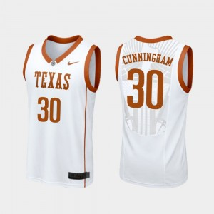 Texas Longhorns Brock Cunningham College Jersey Replica #30 Basketball White Men's