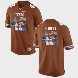 Men Texas Longhorns Pictorial Fashion Caleb Bluiett College Jersey #42 Brunt Orange