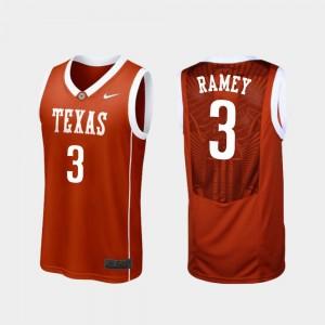 Texas Longhorns Courtney Ramey College Jersey Burnt Orange Basketball Mens Replica #3