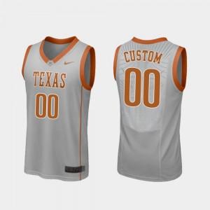 University of Texas For Men's Basketball Replica Gray #00 College Custom Jerseys