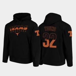 University of Texas Football Pullover Daniel Young College Hoodie For Men's Wedge Performance #32 Black
