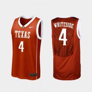 University of Texas #4 For Men Basketball Burnt Orange Drayton Whiteside College Jersey Replica
