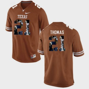 #21 Duke Thomas College Jersey Brunt Orange Pictorial Fashion Longhorns Mens