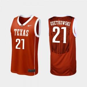 Dylan Osetkowski College Jersey Mens Basketball Replica #21 Burnt Orange Longhorns