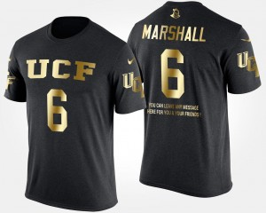 #6 Gold Limited University of Central Florida For Men's Short Sleeve With Message Black Brandon Marshall College T-Shirt
