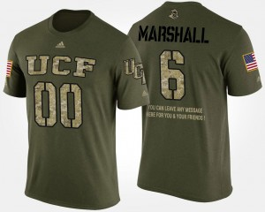 Short Sleeve With Message Brandon Marshall College T-Shirt Camo #6 Military UCF Men