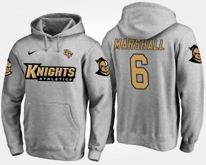 University of Central Florida Gray For Men's #6 Brandon Marshall College Hoodie