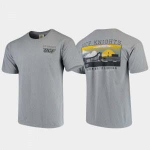 For Men's College T-Shirt Gray Comfort Colors University of Central Florida Campus Scenery