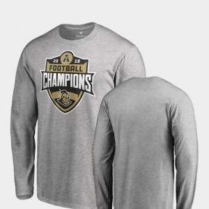 2018 AAC Football Champions For Men's Long Sleeve UCF Knights Heather Gray College T-Shirt