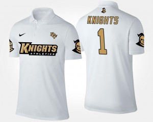 White University of Central Florida No.1 Short Sleeve #1 College Polo For Men