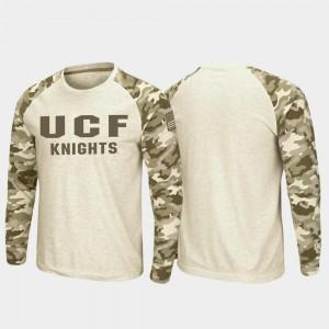 OHT Military Appreciation Knights College T-Shirt Mens Raglan Long Sleeve Desert Camo Oatmeal