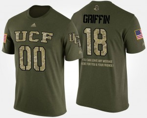 For Men Military Shaquem Griffin College T-Shirt #18 Short Sleeve With Message Camo Knights