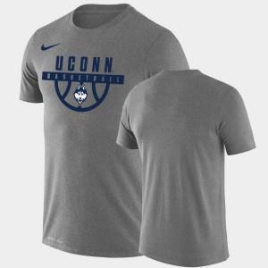 College T-Shirt Men University of Connecticut Heathered Gray Drop Legend Performance Basketball
