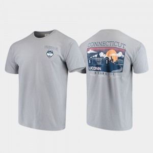 Campus Scenery For Men Gray College T-Shirt Comfort Colors University of Connecticut
