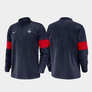 2019 Coaches Sideline College Jacket Navy Half-Zip Performance Men Connecticut Huskies