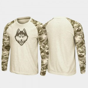 College T-Shirt UConn Huskies Oatmeal Raglan Long Sleeve Desert Camo OHT Military Appreciation For Men's
