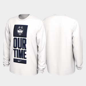 White For Men Connecticut Huskies 2020 March Madness College T-Shirt Our Time Bench Legend