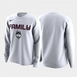 For Men White UConn Huskies Family on Court College T-Shirt March Madness Legend Basketball Long Sleeve