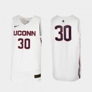 For Men's White Connecticut Huskies College Jersey Basketball Replica #30