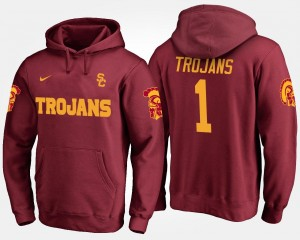 USC Trojans Mens College Hoodie #1 No.1 Cardinal