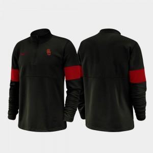 Black College Jacket For Men Half-Zip Performance 2019 Coaches Sideline Trojans