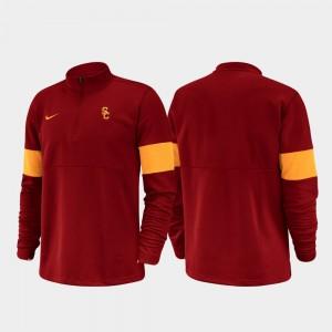 College Jacket USC Trojan 2019 Coaches Sideline Cardinal Half-Zip Performance Men's