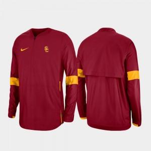 Cardinal College Jacket Quarter-Zip Trojans 2019 Coaches Sideline Mens