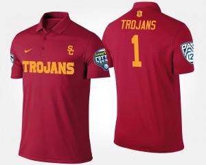 #1 Bowl Game College Polo Cardinal No.1 Pac-12 Conference Cotton Bowl Mens USC Trojans