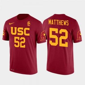 Red Men Clay Matthews College T-Shirt Future Stars #52 USC Trojan Green Bay Packers Football