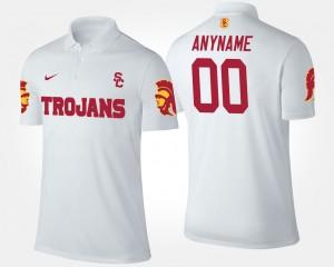 White #00 For Men Trojans College Custom Polo
