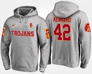 USC Trojans #42 Mens Gray Devon Kennard College Hoodie