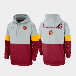 Men Trojans Gray Cardinal College Hoodie Therma Performance Pullover Rivalry