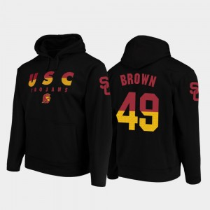 USC Football Pullover Michael Brown College Hoodie Wedge Performance Black #49 For Men's