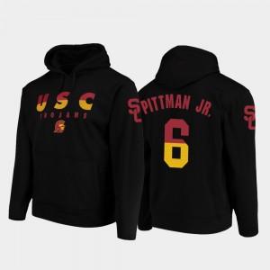 Wedge Performance Black Football Pullover Trojans #6 Michael Pittman Jr. College Hoodie For Men