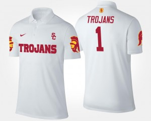 College Polo Men #1 White Trojans No.1 Short Sleeve