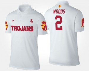 #2 White Robert Woods College Polo USC Trojan Men's