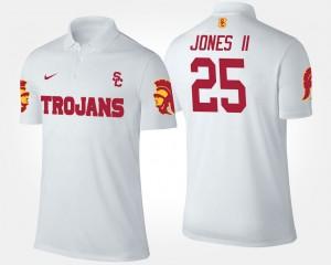 #25 White Trojans Ronald Jones II College Polo Mens