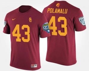 Bowl Game Men's Pac-12 Conference Cotton Bowl Cardinal #43 USC Troy Polamalu College T-Shirt