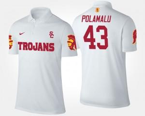 White USC Trojans #43 Troy Polamalu College Polo Men's