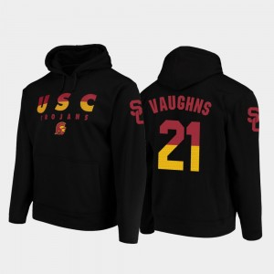 Black #21 Football Pullover Tyler Vaughns College Hoodie Men's USC Trojan Wedge Performance