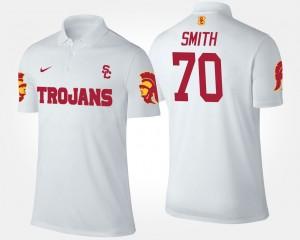 Men USC White #70 Tyron Smith College Polo