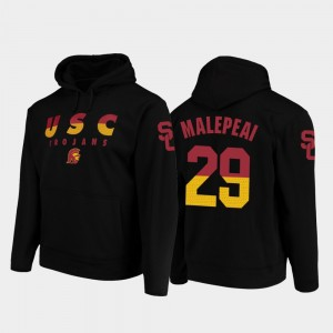 Wedge Performance Black Football Pullover #29 USC Trojans Vavae Malepeai College Hoodie Men's