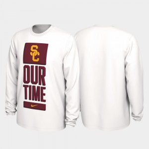 College T-Shirt For Men Our Time Bench Legend USC 2020 March Madness White
