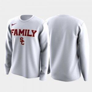 USC White College T-Shirt March Madness Legend Basketball Long Sleeve Family on Court For Men's