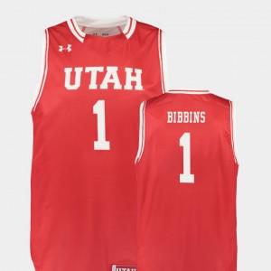 Basketball #1 Mens Replica Utah Utes Red Justin Bibbins College Jersey